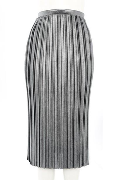 Topshop skirt pleated skirt pleated metallic silver