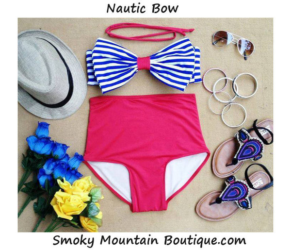 swimwear high waisted bikini high waisted bikini red blue and white striped bow top bow swimwear bow swimsuit high waist swimsuit blue and white
