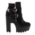 New Ladies Zip Up Womens Black PU High Chunky Heel Platform Boot Shoes Size 5-10