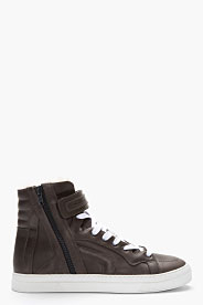 Pierre Hardy Dark Grey Leather Shearling-trimmed High-top Sneakers for men | SSENSE