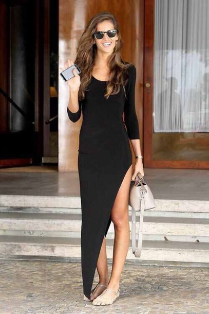 dress summer black dress formal black maxi slit black long dresses