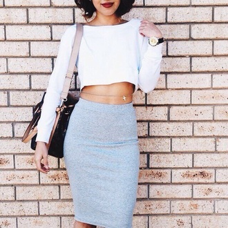 skirt grey skirt crop tops jewels bag white top fashion style clothes outfit top red lime sunday