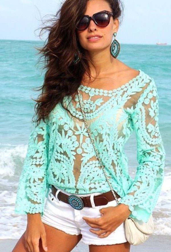 blouse mint lace see through