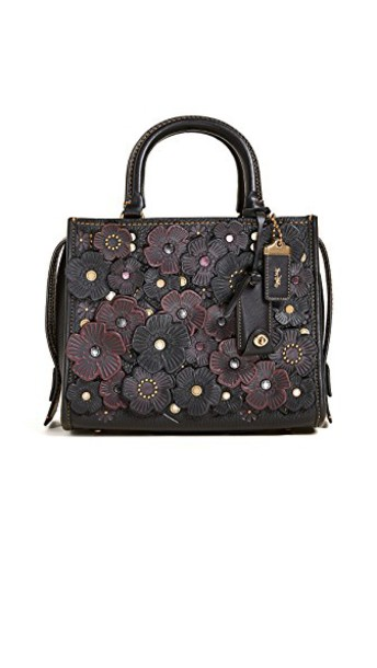 coach rose tea bag shoulder bag black