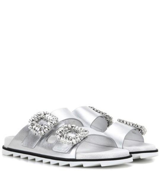 Roger Vivier sandals leather sandals leather silver shoes