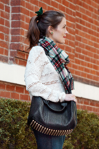 sequins and stripes blogger tartan scarf knitted sweater hair bow studded bag