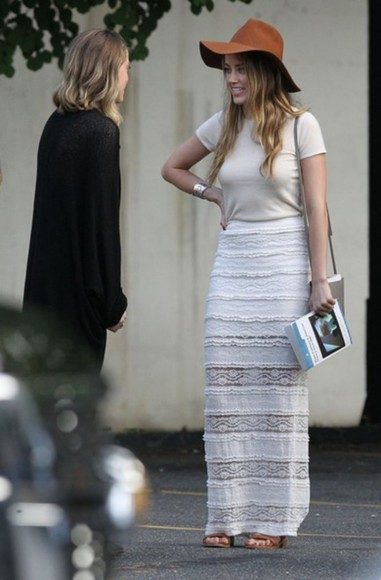 skirt maxi skirt white summer outfits sandals amber heard hat orange hat lace