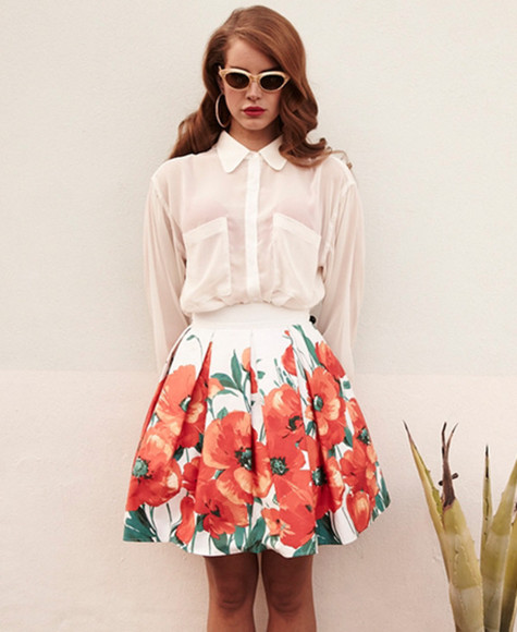 lana del rey skirt blouse celebrity