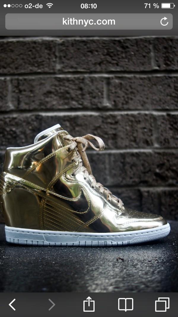 shoes liquid gold nike dunk sky hi