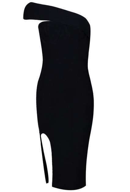 Asymmetric Bardot Midi Bandage Dress Black