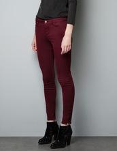 jeans,burgundy,slim