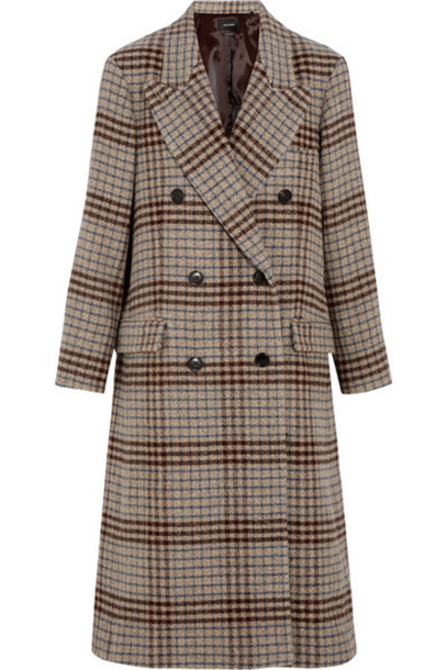 Isabel Marant - Flint Double-breasted Plaid Wool Coat - Beige