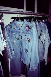 jacket,denim,patch,badge,unicorn,weed,yin yang,rainbow,ice cream,donut,gun,denim jacket,diy,grunge,jeans