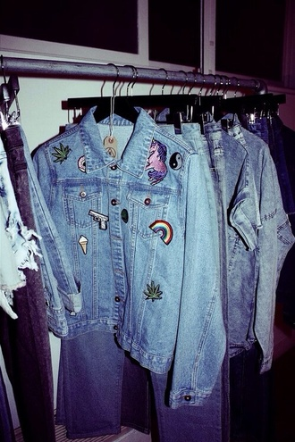 jacket denim patch badge unicorn weed yin yang rainbow ice cream donut gun denim jacket diy grunge jeans