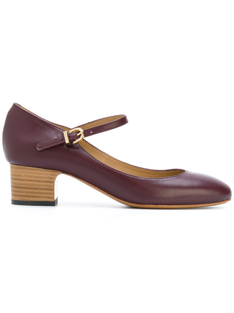 A.P.C. women pumps leather purple pink shoes