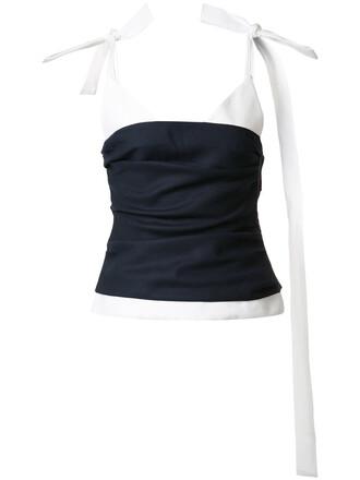 blouse straps long women cotton blue wool top