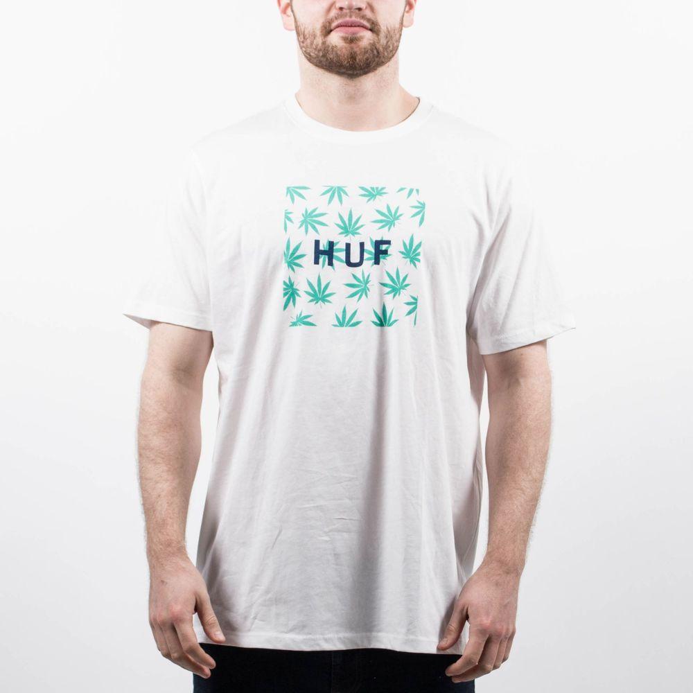Huf plant life box logo tee shirt white t154