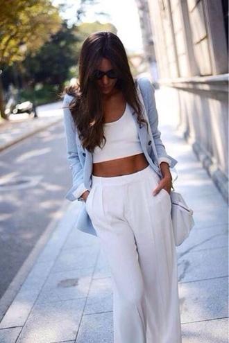 jeans tank top coat pants jumpsuit croptop plain tanktop whitepants flowypants v neck
