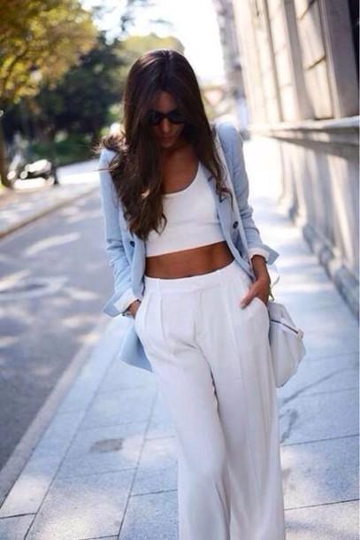 Jeans Tank Top Coat Pants White Style Classy Dressy Class