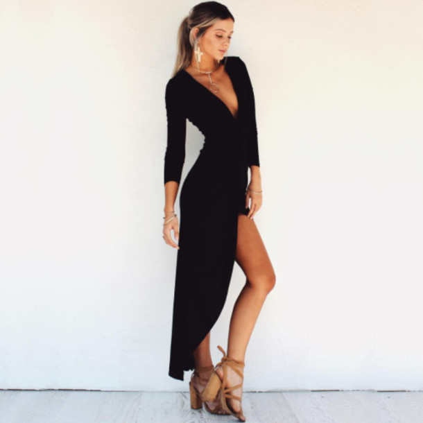 Black Maxi Summer Dress with Sleeves