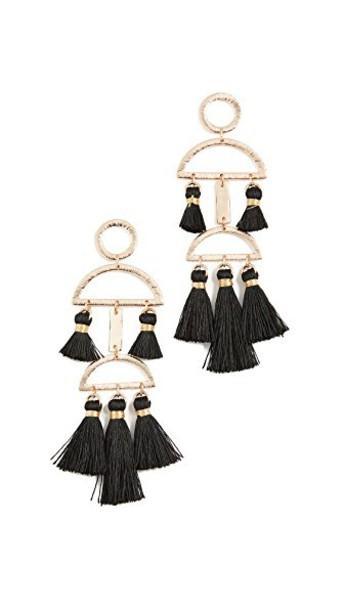 SHASHI tassel earrings black jewels