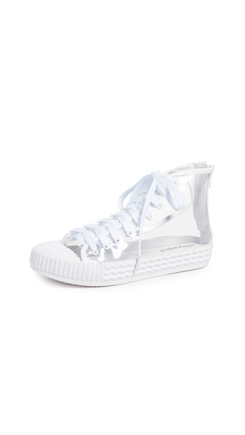 high vinyl sneakers high top sneakers clear white shoes