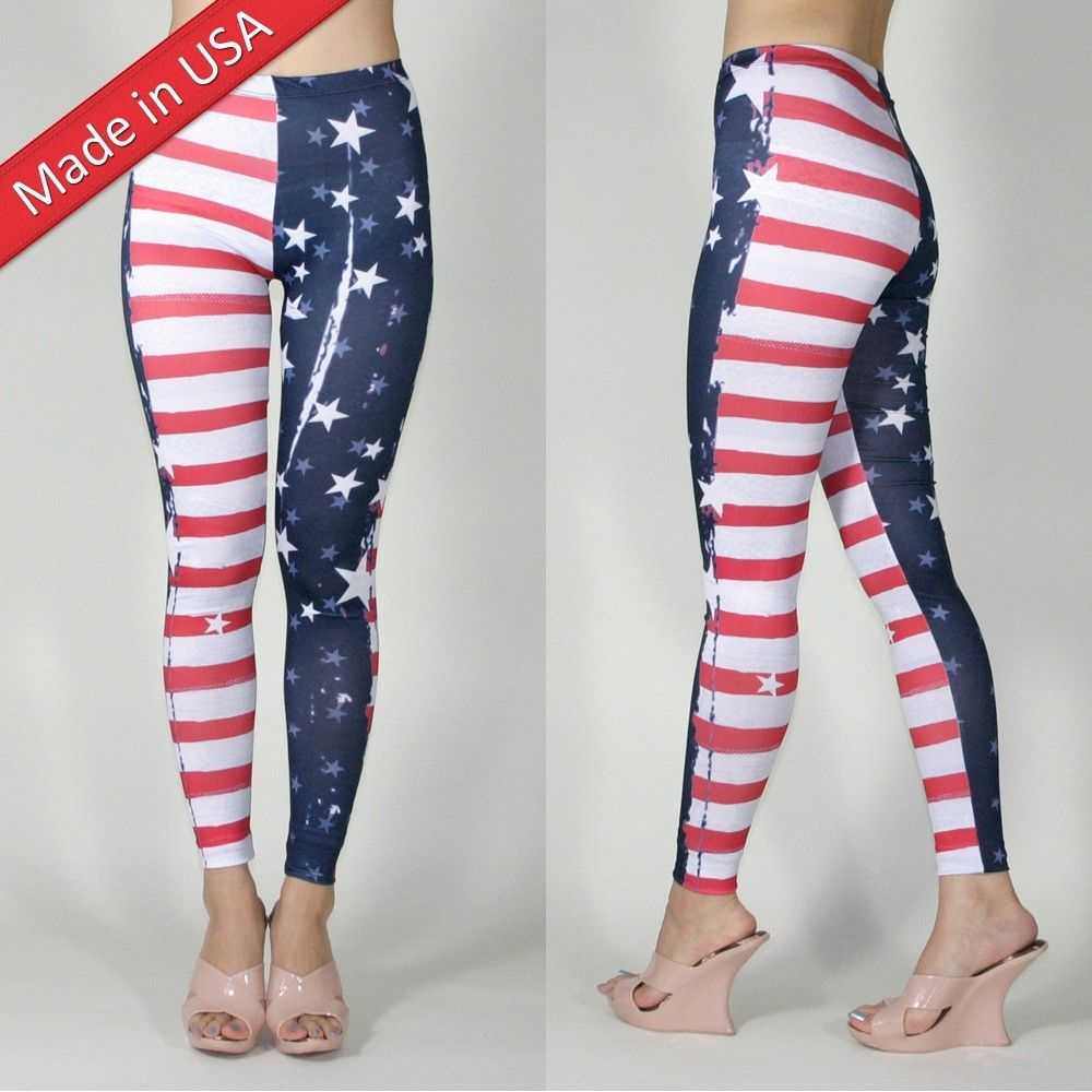 HALLOWEEN Sexy AMERICAN FLAG Super WOMAN Hero Tights Leggings Pants USA S M L