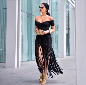dress fringes faux wrap fringed dress black dress off the shoulder