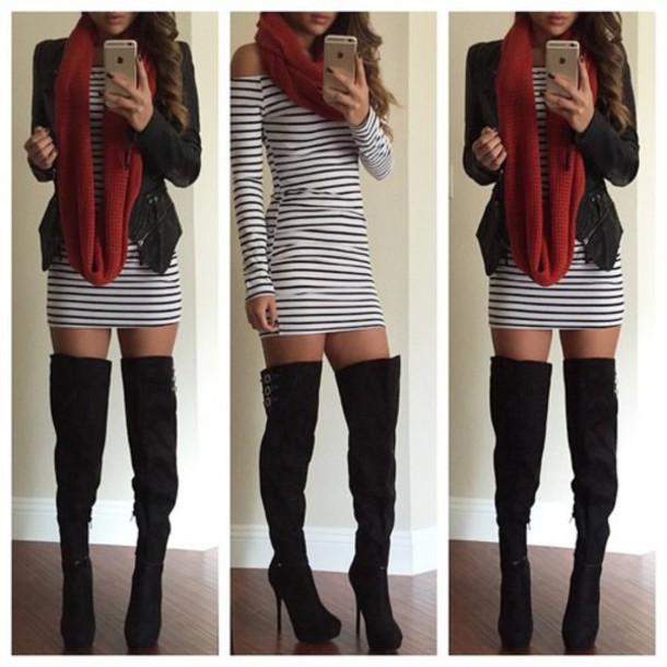 Dress Shoes Boots Scarf Jacket Black And White Dress Stripes