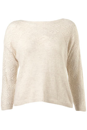 Knitted pointelle button back jumper