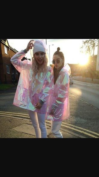 jacket raincoat holographic pink