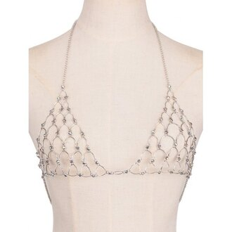 top bra bralette diamonds crystal diamond bra boho chic silver lingerie boho boho jewelry body body chain