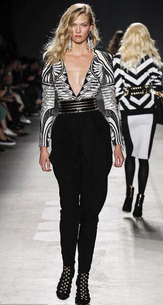 pants top runway model karlie kloss plunge v neck h&m balmain v neck embroidered