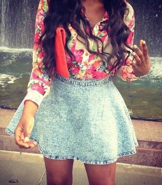skirt jean short skirt denim skater skirt circle skirt blue vintage retro blouse