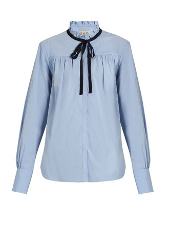 shirt ruffle cotton light blue light blue top