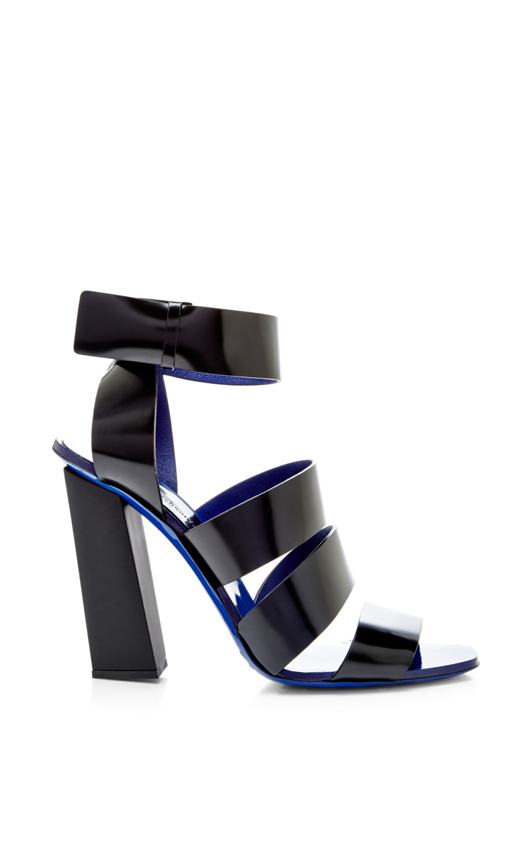 Black leather sandal with blue sole by proenza schouler