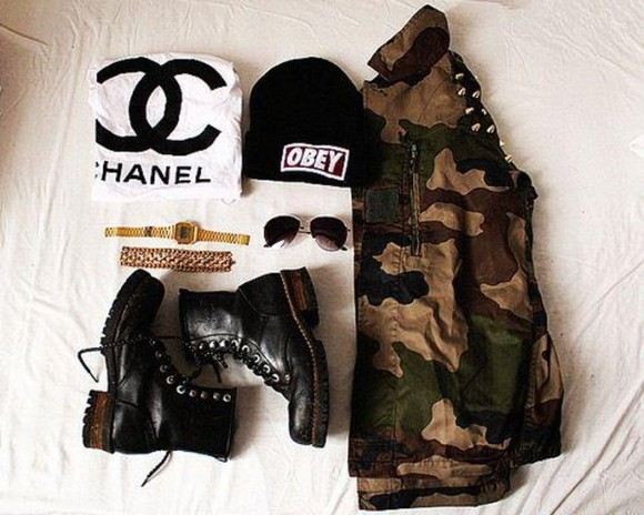 military blouse hat black t-shirt