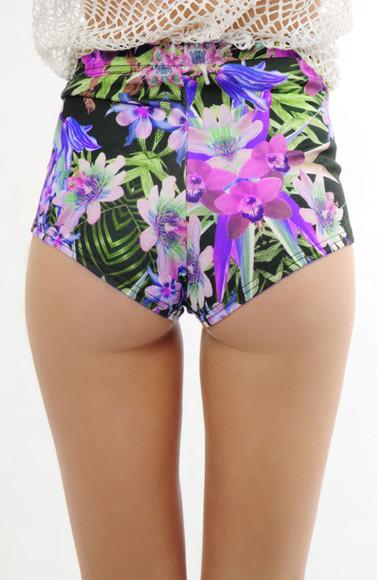 swimwear tropical floral green swimwear leaves floral swimwear tropical bikini purple swimwear flower bikini high waisted bikini purple green