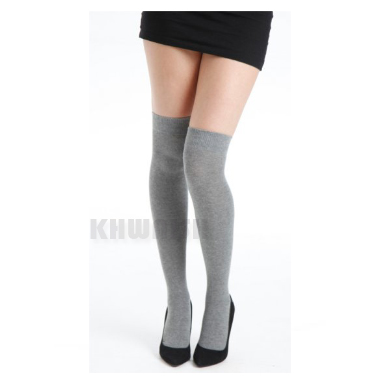 New Black Grey White Striped Over Knee Thigh High Socks Ladies School Size 4-7