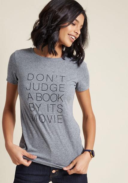 Don't Judge a Book t-shirt shirt graphic tee t-shirt casual lit print grey top