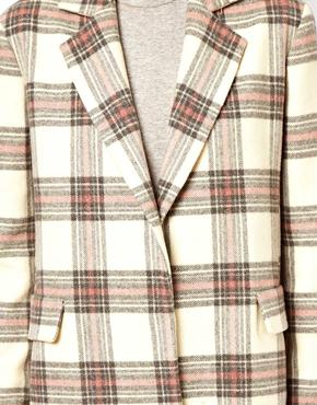 ASOS | ASOS Longline Coloured Check Coat at ASOS