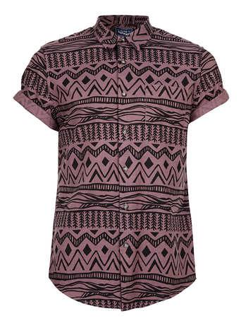 Burgundy Black Aztec Print Short Sleeve Shirt - Men's Shirts - Clothing - TOPMAN