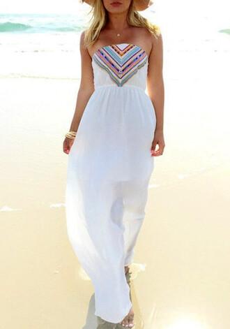 dress maxi dress maxi white white dress white maxi dress rainbow strapless dress strapless