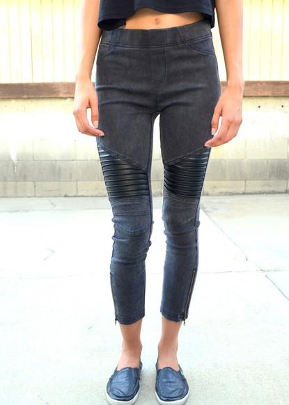black denim zipper jeans jeggings leggings black jeggings black denim black jeans black leggings leather jeggings leather jeans leather leggings zipper leggings zippered zippered jeans zipper jeans leather panel jeans