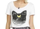 shirt,hot topic,sailor moon luna,crop tops,white,black,grey,kawaii