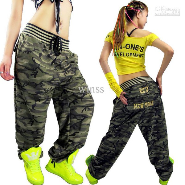 Unique Cargo Pants Women39s Overallhip Hop Sport Loose Jeans Baggy Camo Pants