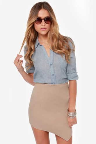 skirt asymmetrical beige skirt beige nude tight skirt high waisted skirt blouse