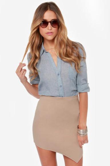 skirt beige skirt beige blouse nude high waisted skirt asymmetrical tight skirt