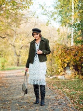gvozdishe,blogger,jacket,dress,bag,shoes,fall outfits,boots,green jacket,leather jacket,fisherman cap