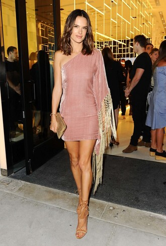 shoes sandals mini dress asymmetrical dress alessandra ambrosio nude dress dress one shoulder one shoulder dress